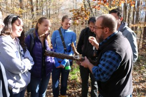 Scott LaGreca (right, in black vest) describes the major morphological categories of lichens